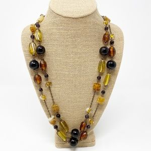 Jewelry - Brown & Amber Long Beaded Necklace